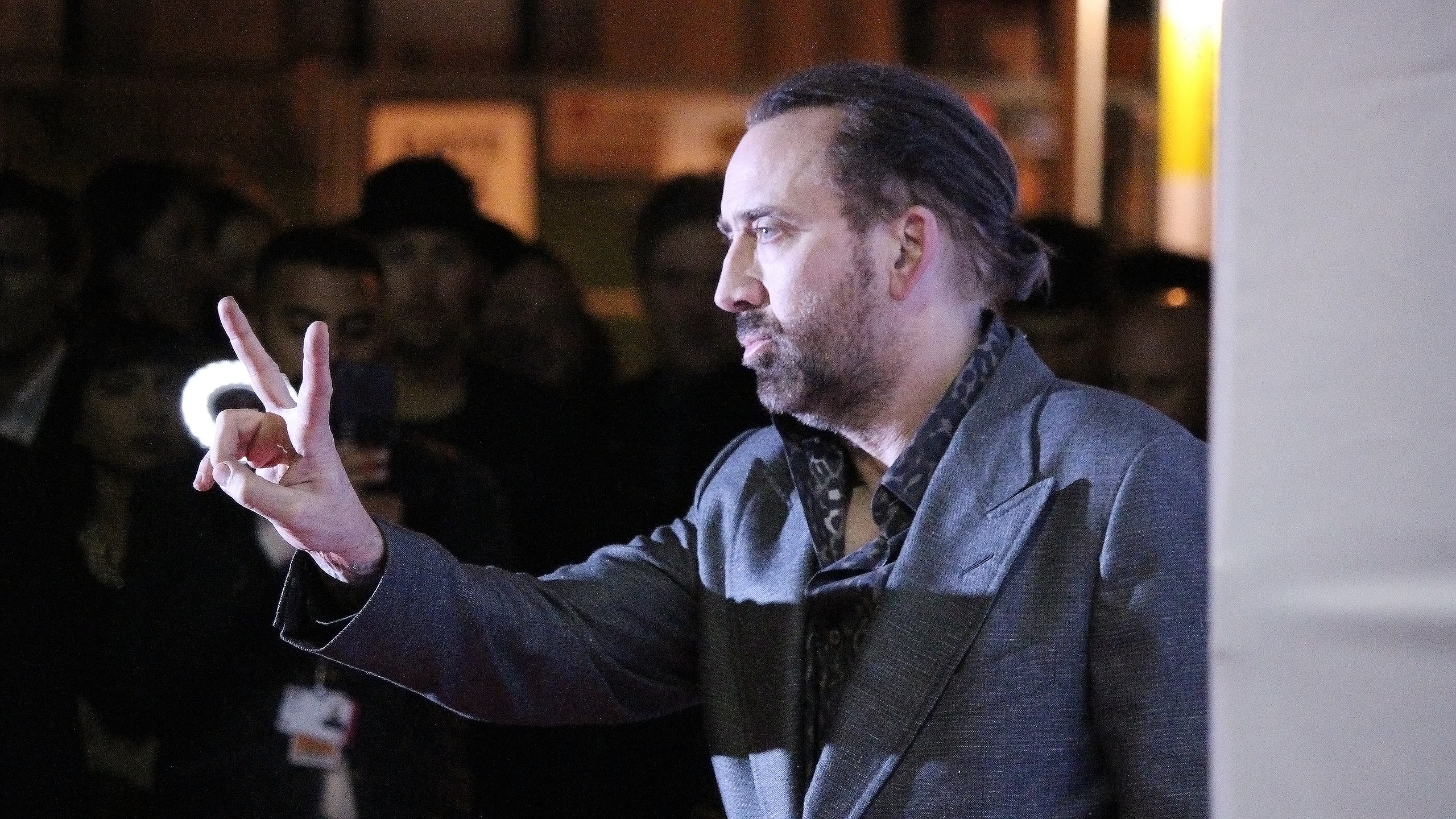 TIFF 2017 Nicholas Cage Peace sign Photo: Premila D'Sa