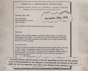Soskolne says he didn't select a cinema operator before city council heard on the project Dec. 10, 1996 - but he wrote this letter before that date mentioning a deal with AMC.