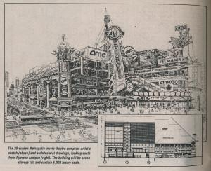 The 30-screen Metropolis movie theatre complex: artist's sketch (above) and architectural drawings, looking south from Ryerson campus (bottom right). The building will be seven storeys tall and contain 6,000 luxury seats.