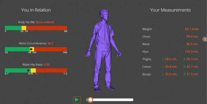NExT Lab's Fit 3D machine produces a 360-degree image of a person's body and measures them. Courtesy: NExt Labs