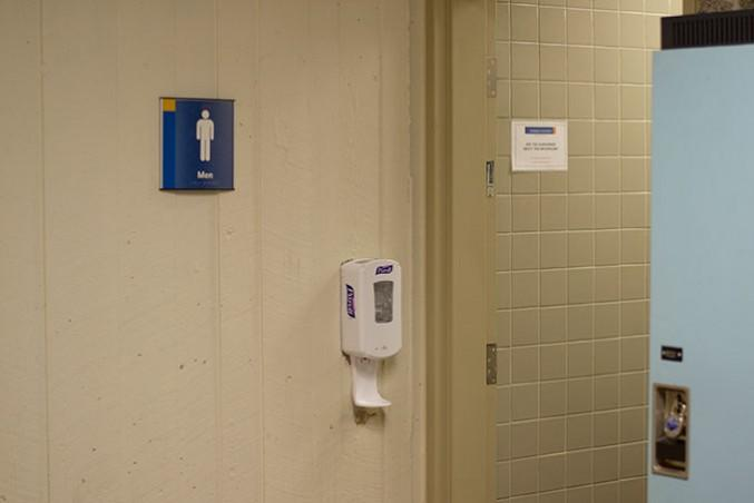 A men's washrooms on the third floor of the Library building. Anti-Semetic graffiti was recently found on the floor.
