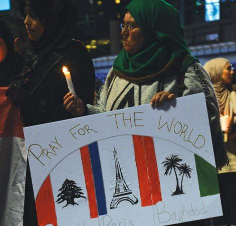 A candlelit vigil grieving for those lost in in terror attacks in Beirut, Paris and Baghdad. PHOTO: SIERRA BEIN