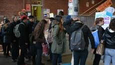 In past years, students waited in line to pick up health and dental opt-out cheques. PHOTO: JESS TSANG