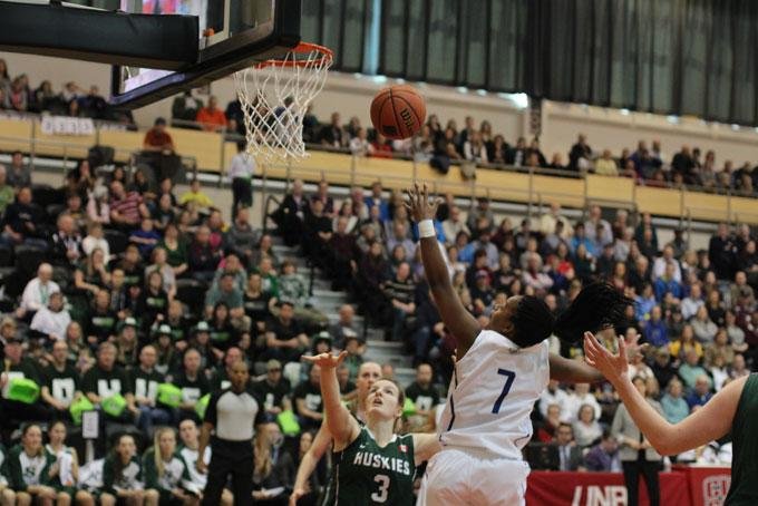 Pingue-Giles goes for a layup in her final game. PHOTO: CHRIS BLANCHETTE