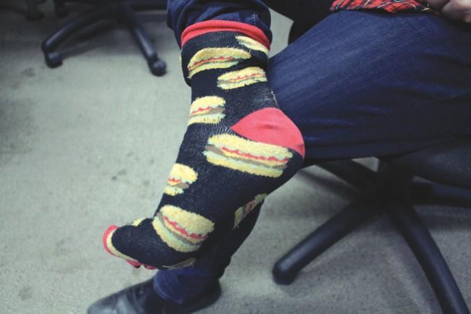 """The """"funky"""" socks in question. PHOTO: Jake Scott"""