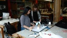 Lorella Di Cintio helping first-year student Lori Fernandez with final utensil project. PHOTO: KAROUN CHAHINIAN