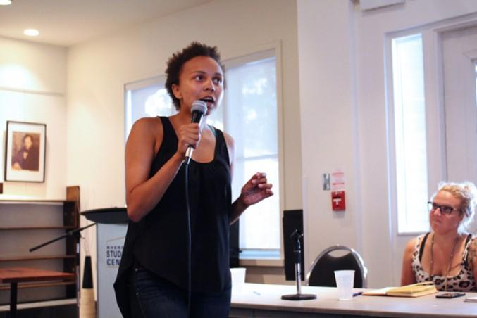 Ellie Ade Kur, a University of Toronto student, speaks at Ryerson about sexual violence. PHOTO: SARAH KRICHEL