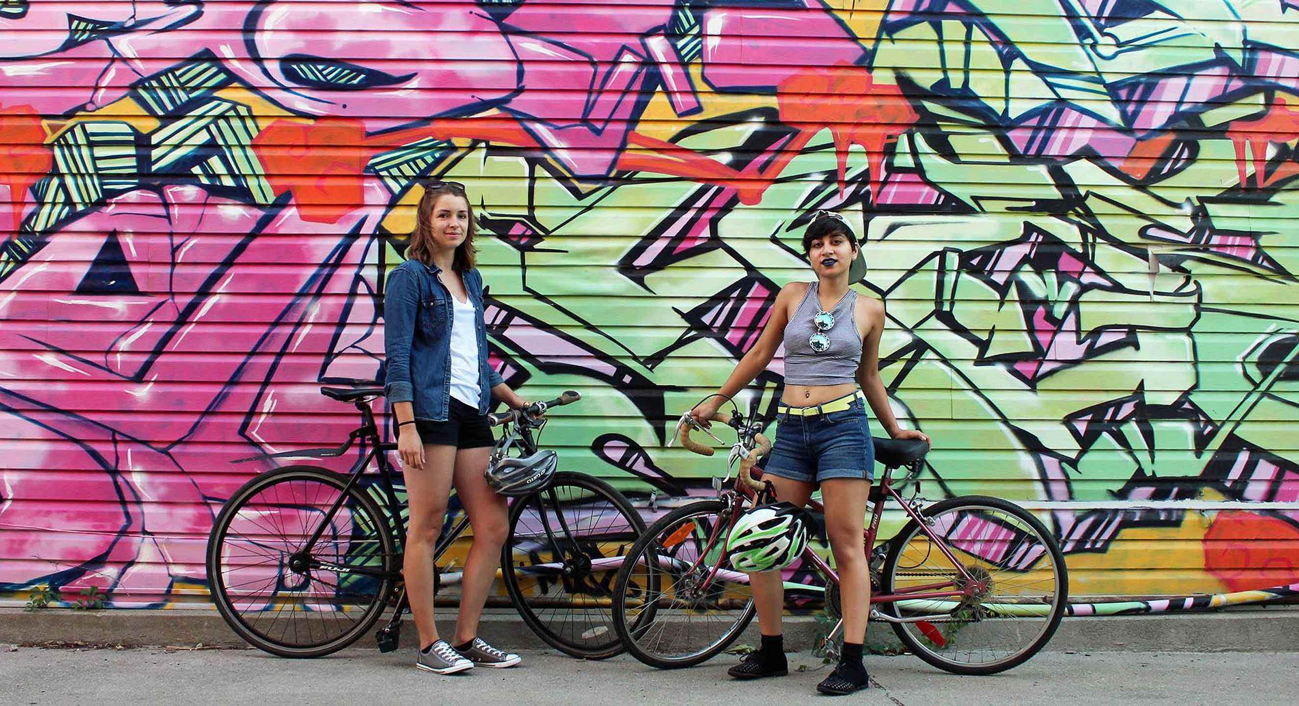 The Bad Girls Bike Club co-creators, Claire McFarlane and Lavinia Tanzim. PHOTO COURTESY: BAD GIRL BIKE CLUB