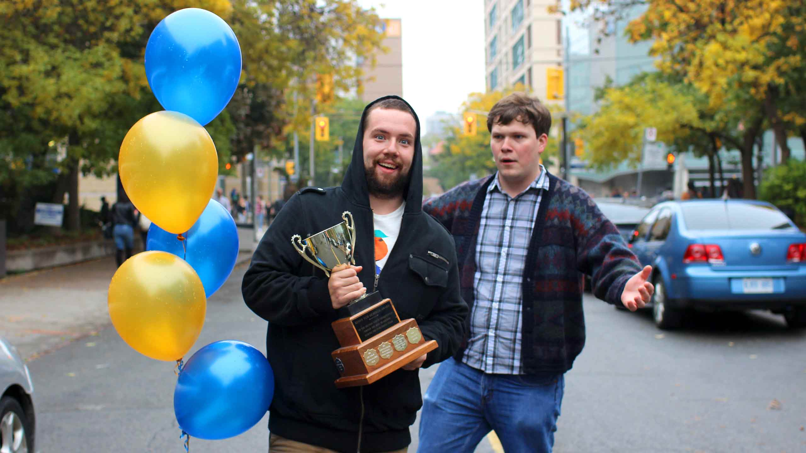 Cable and Kristoff after the winner of the Cardi-Get-It-On contest was announced. PHOTO: CHRIS BLANCHETTE