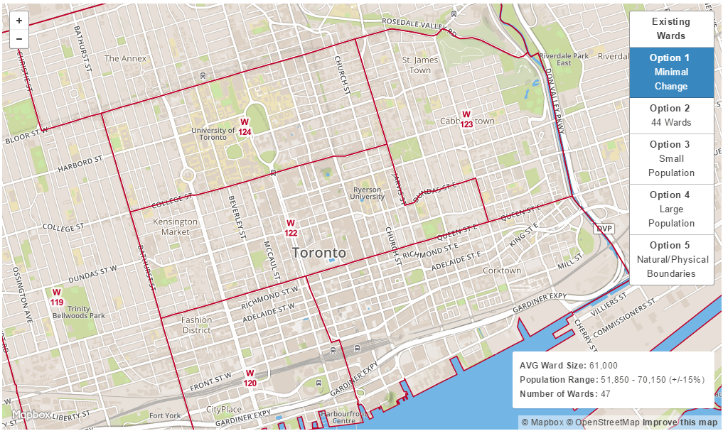 The proposed change, increasing the number of wards to 47 (Map: Toronto Ward Boundary Review)
