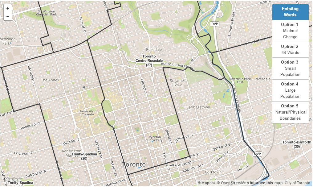 The existing wards (Map: Toronto Ward Boundary Review)