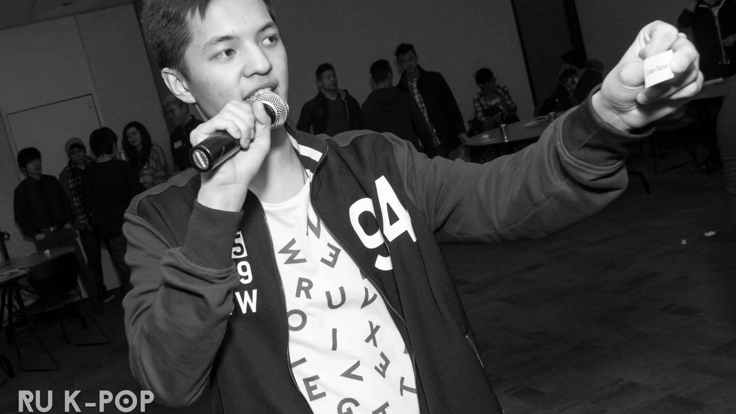 RU K-Pop member sings at event last year. PHOTO COURTESY RU K-POP