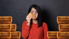 A sad girl and her sad, sad bread. PHOTO ILLUSTRATION: CHRIS BLANCHETTE