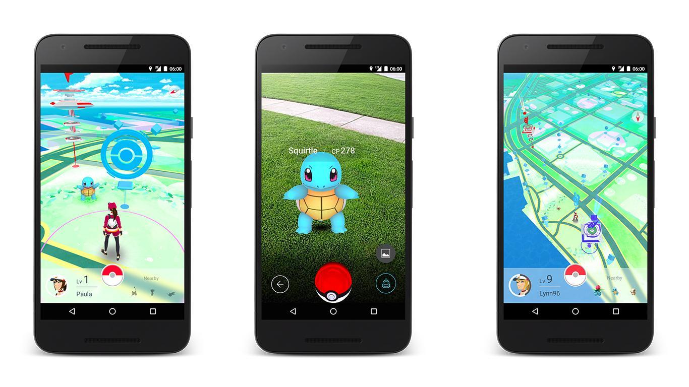 Screenshots show the Pokemon Go app