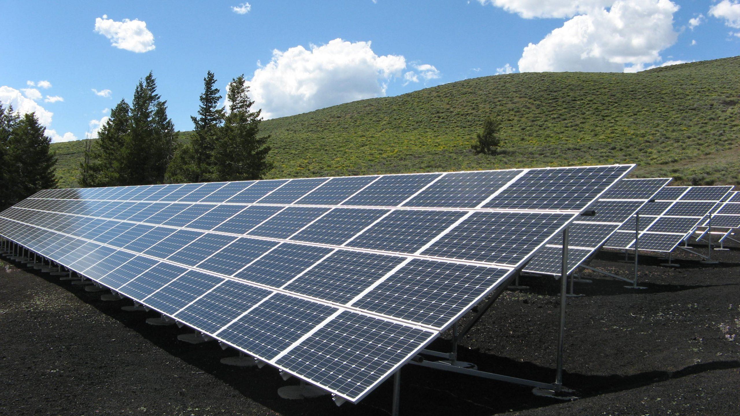 An array of solar panels sits in a field.