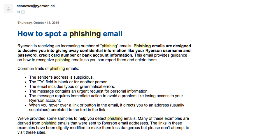 A screenshot of an email the CCS sent to students, warning them to avoid phishing emails.