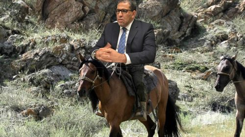 Illustration of Ryerson President Mohamed Lachemi riding a horse.