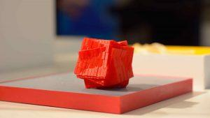 3D print of red cubical art