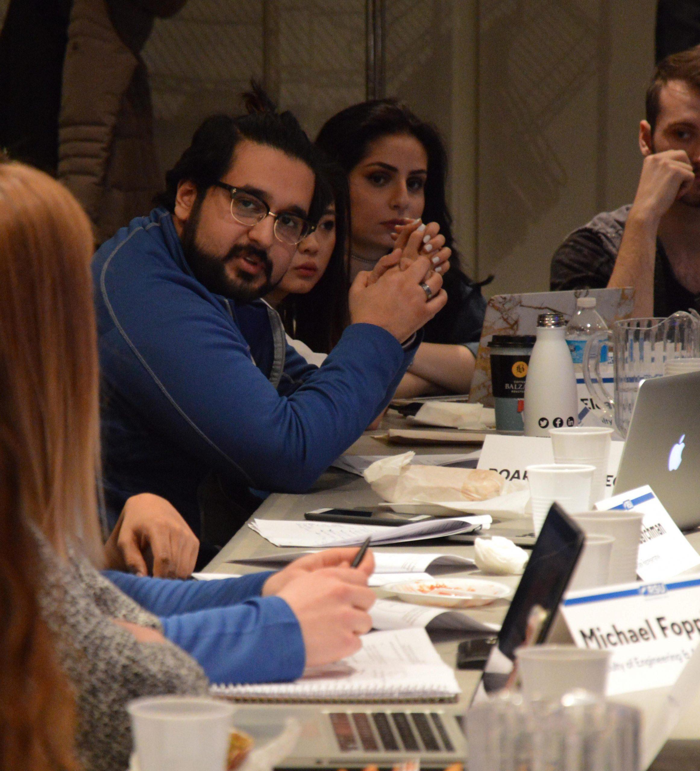 Board members discuss a topic