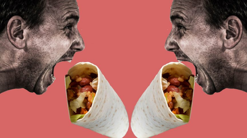 Two hyperbolic images of men eating burritos