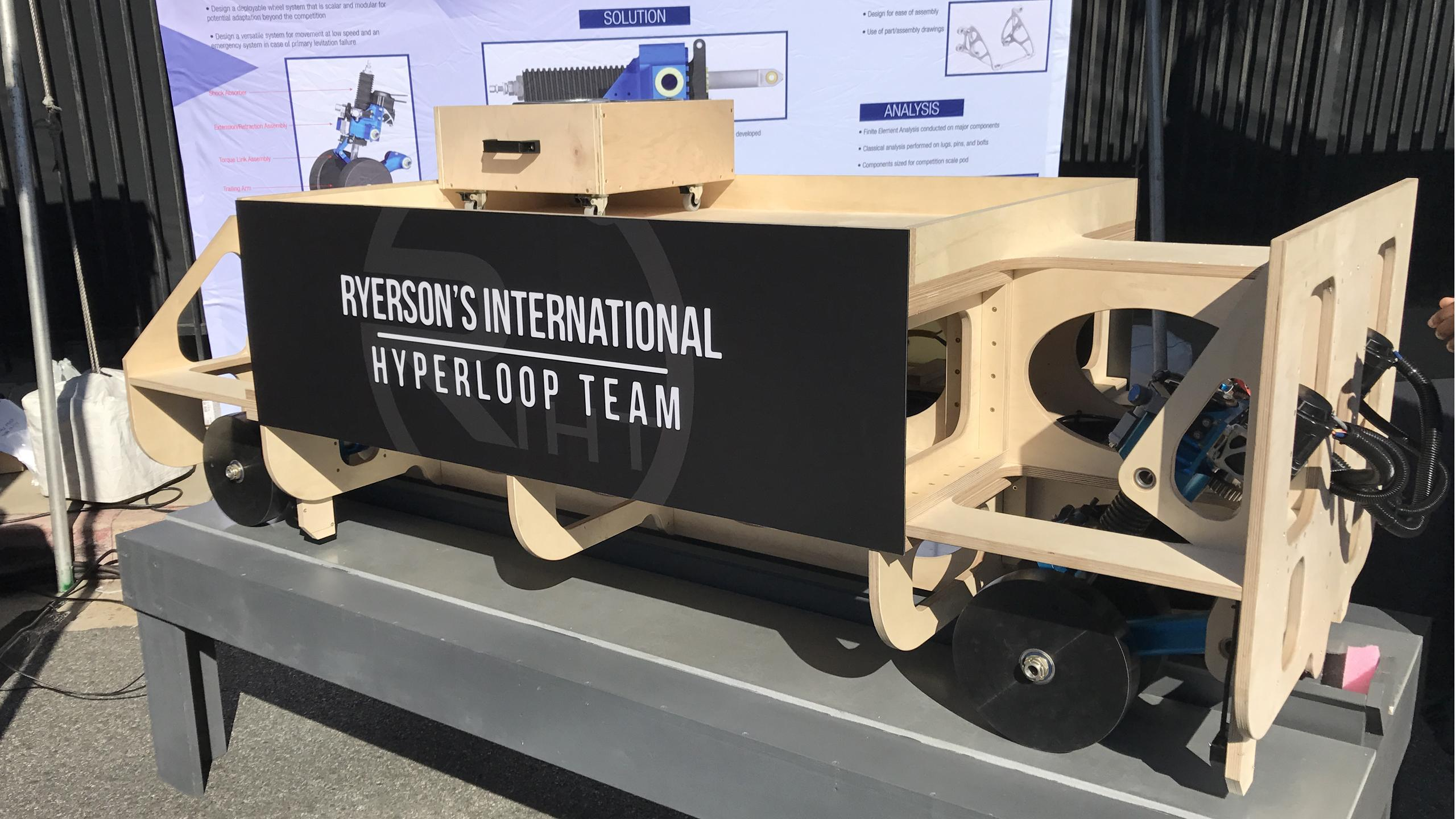The chassis Ryerson's Hyperloop team uses to display its system.