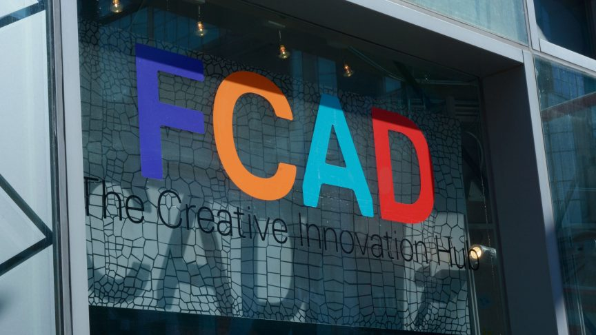Photo of the FCAD creative innovation hub sign on Yonge Street.