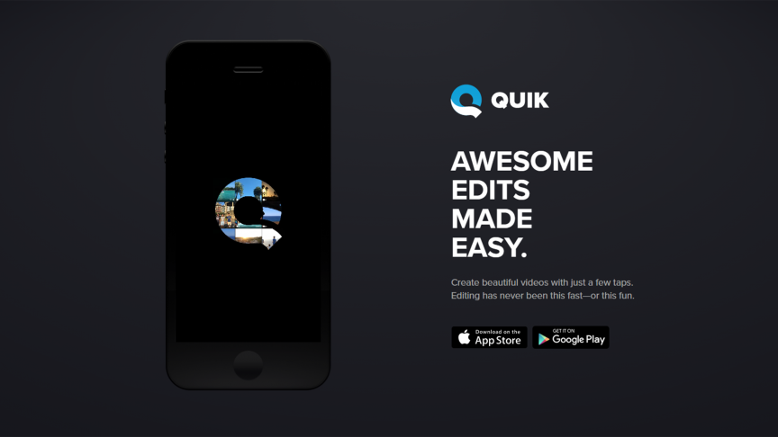 Screenshot from Quik website showing a phone with the Quik logo on it