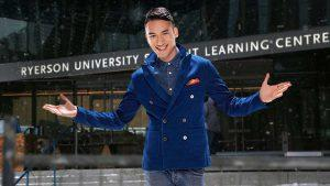 Carlos Bustamente (from YTV) stands in front of the Student Learning Centre