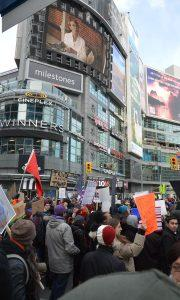 Protesters fill the yonge and dundas square