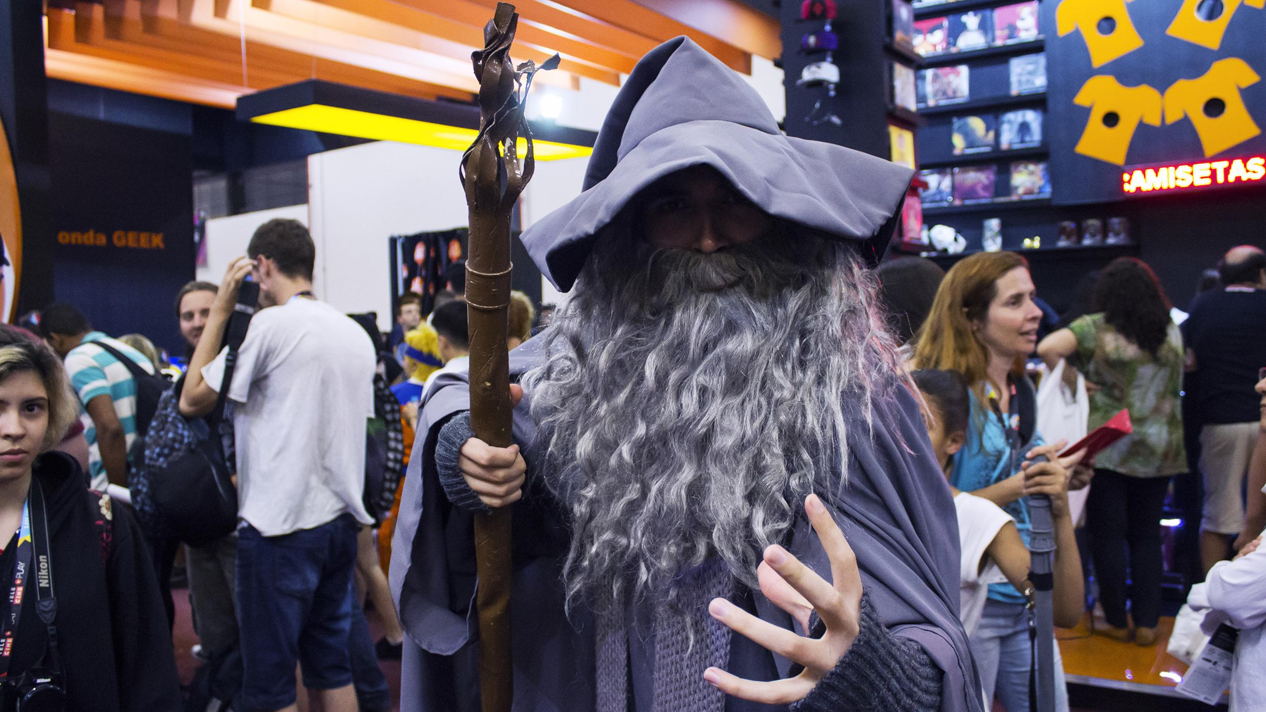 A man dresses like Gandalf the wizard. He has a grey beard, hat and robes. He is holding a big stick.
