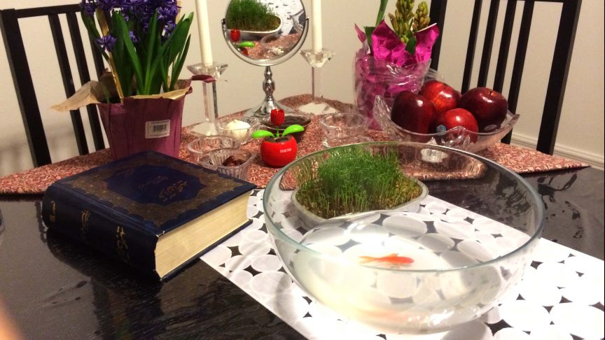 Bob, the gold fish, swims around in his bowl as part of the Fekri 2014 Nowruz sofre (new year's spread).