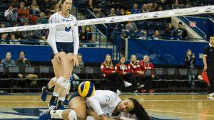 Volleyball player on the floor