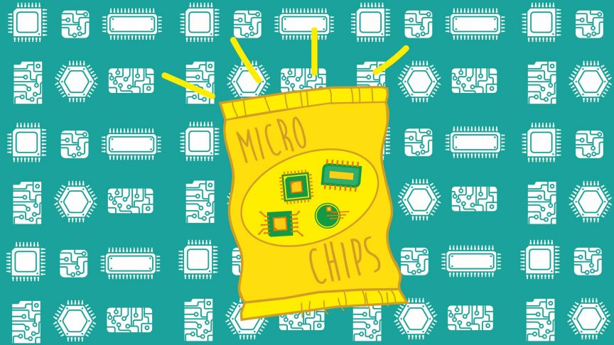 A bag of chips filled with microchips