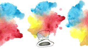 A water painting of exploding colours with a Mad Hatter hat in the center