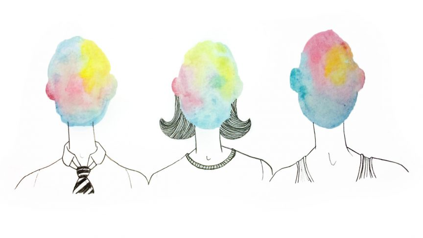 Three faceless people. In place of their face, is a blob of water painting colour