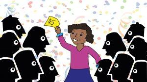 A girl stands in the middle of a crowd happily holding a $5 bill