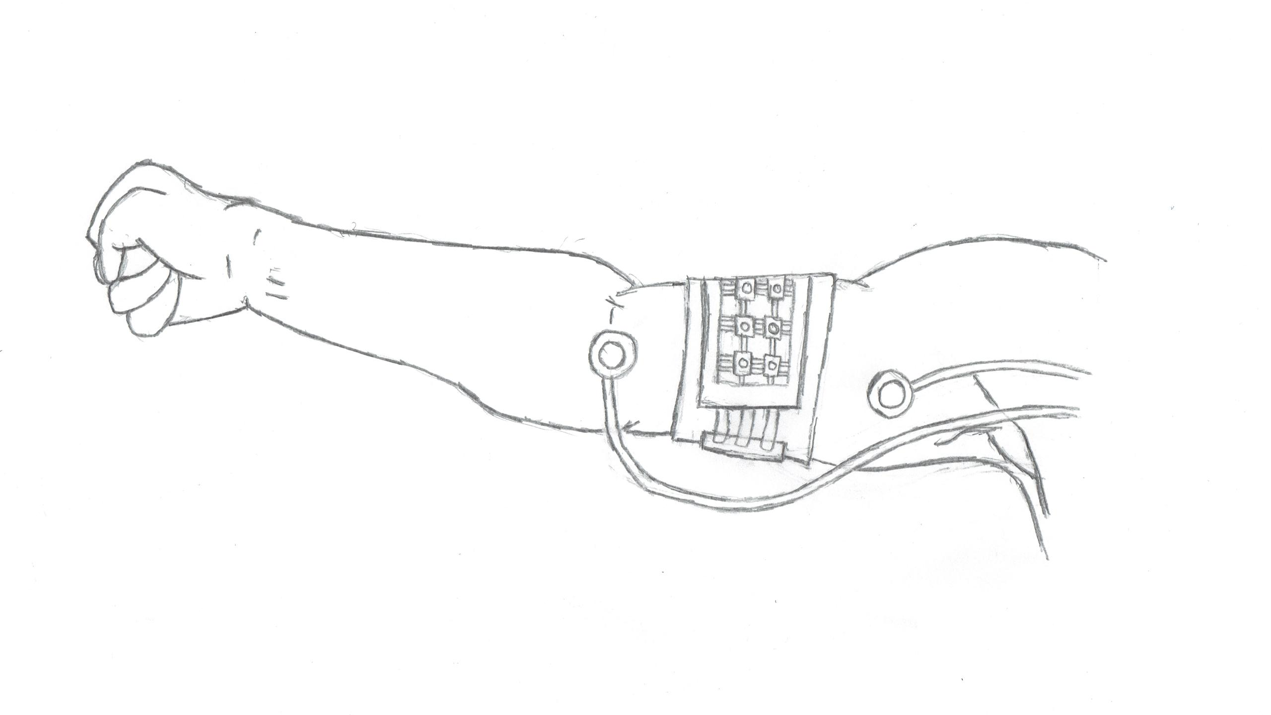 Illustration of an arm with an arm band with circuitry on it.