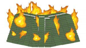 A heap of money on fire