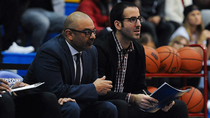 Roy Rana (left) and Borko Popic (right) on the Ryerson Rams' bench. (Photo Courtesy: Alex D'Addese)