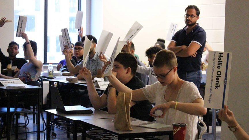 The RSU board taking a vote.