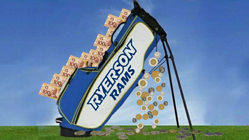Ryerson's golf club is in a deficit. PHOTO: RYERSON GOLF CLUB/TWITTER, ILLUSTRATION: SARAH KRICHEL