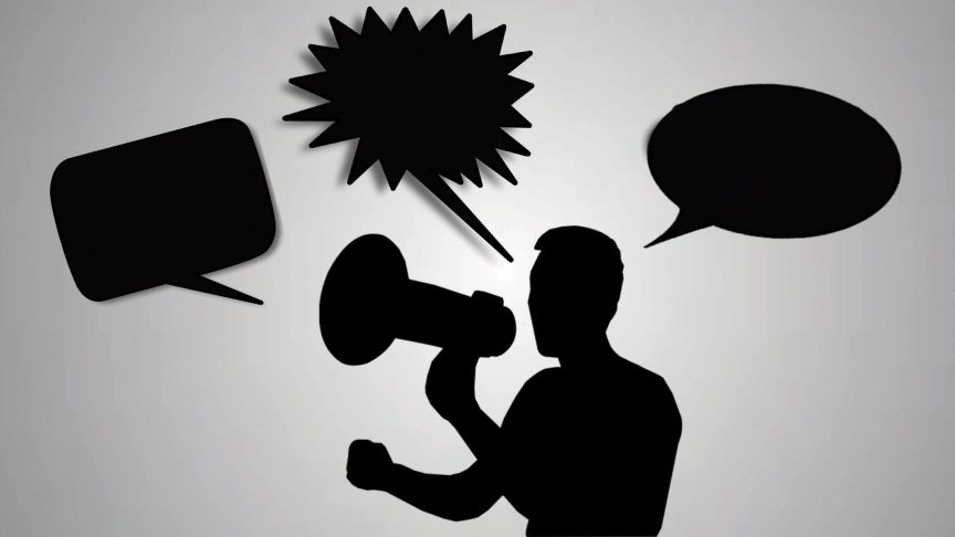 A silhouette of a man yelling into a loudspeaker. Speech bubbles float above his head.