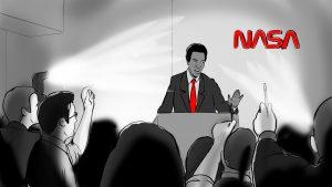 Illustration of Guion Bluford at a press conference for NASA