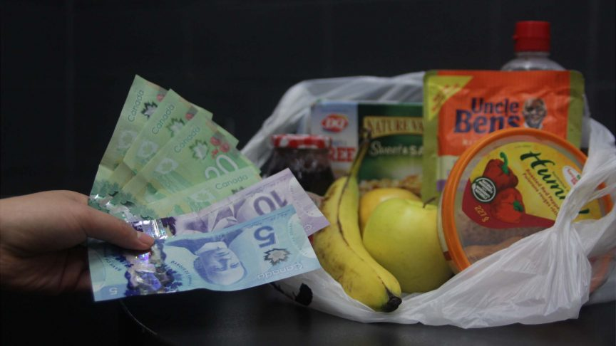 person holding money at a bag of groceries