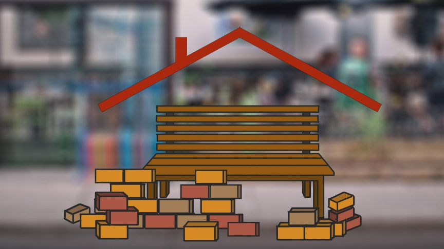 Illustration of a bench with bricks being laid around it. A roof hovers above the bench.