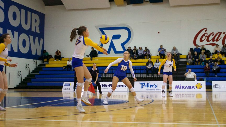 Photo of the women's volleyball team in action.