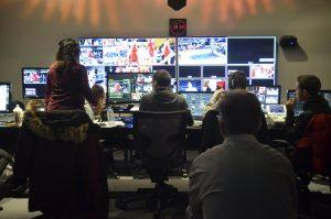 rta students in a broadcasting room during a game