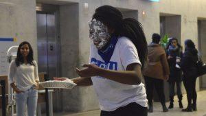 pie on face
