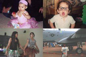 A collage of photos. A little toddler in a pink ballerina outfit, a little boy with big glasses, two teen girls practicing a dance routine and a boy in front of an airplane.