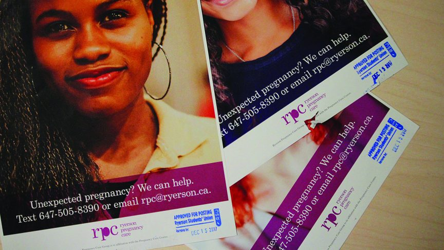 Unexpected pregnancy helpline posters torn off the wall despite bearing a approved for posting stamp from the Ryerson Student Union